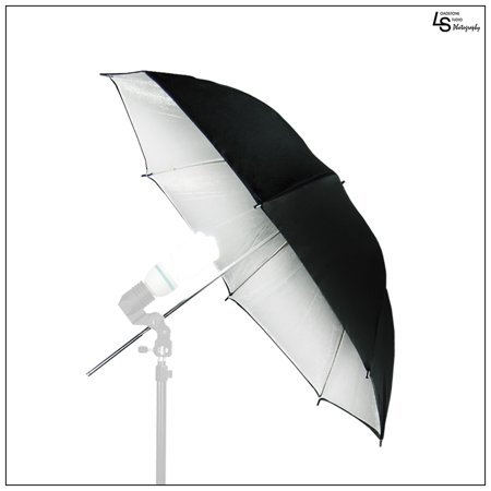 Photography Lighting Equipment - 33 Inch Black Exterior and Silver Interior Reflective Umbrella for Photography and Video Lighting by Loadstone Studio WMLS0197