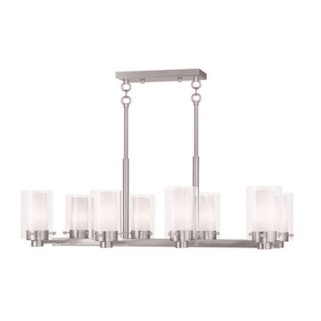 Chandeliers 8 Light With Hand Blown Clear Outside And Opal Inside Glass Brushed Nickel size 17.75 in 480 Watts - World of Crystal Blown Glass Eight Light Chandelier