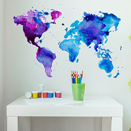 Watercolor World Map Wall Decal - Wall Sticker, Vinyl Wall Art, Home Decor, Wall Mural - SD3071 - 31x21 ()