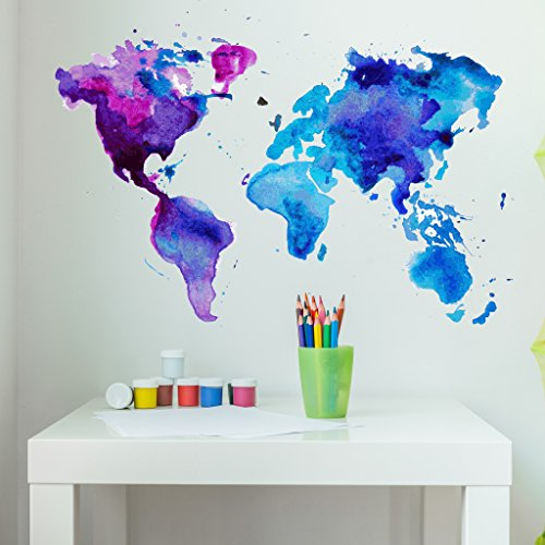 Watercolor World Map Wall Decal - Wall Sticker, Vinyl Wall Art, Home Decor, Wall Mural - SD3071 - 31x21