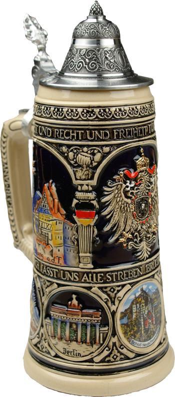 Beer Mug by King Old Heritage CoA and Landmarks Relief Colored Beer Stein (Beer Mug) 0.75l... by King Werke Germany