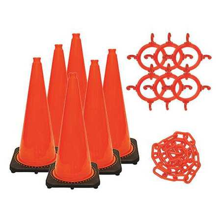 MR. CHAIN 93213-6 28 in. Height - Traffic Cone and Chain Kit - Traffic - Truck Cone Kit