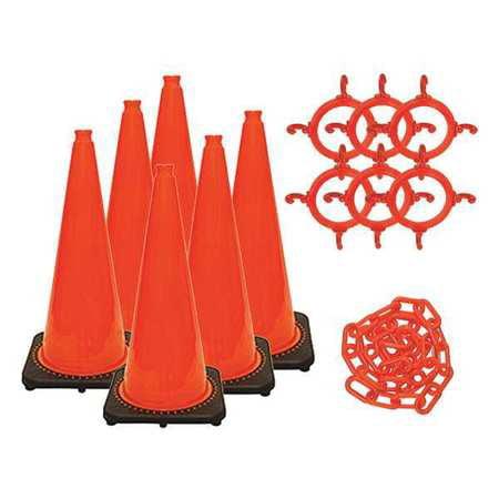 28 in. Height - Traffic Cone and Chain Kit - Traffic Orange (6-pack) MR. CHAIN - Orange Traffic Cones