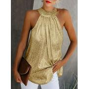 Hirigin Women High Neck Sleeveless Tank Top Summer Loose Blouses Party Shirt