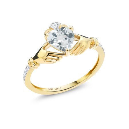 0.73 Ct Heart Shape Sky Blue Aquamarine Diamond Accent 10K Yellow Gold Ring