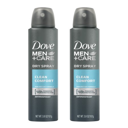 (2 Pack) Dove Men+Care Dry Spray Antiperspirant Deodorant Clean Comfort 3.8 oz Clean Body Spray