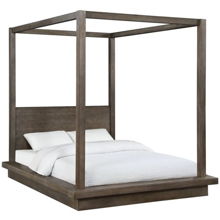 Modus Melbourne Queen Canopy Bed in Rustic Dark Pine Pine Log Bed