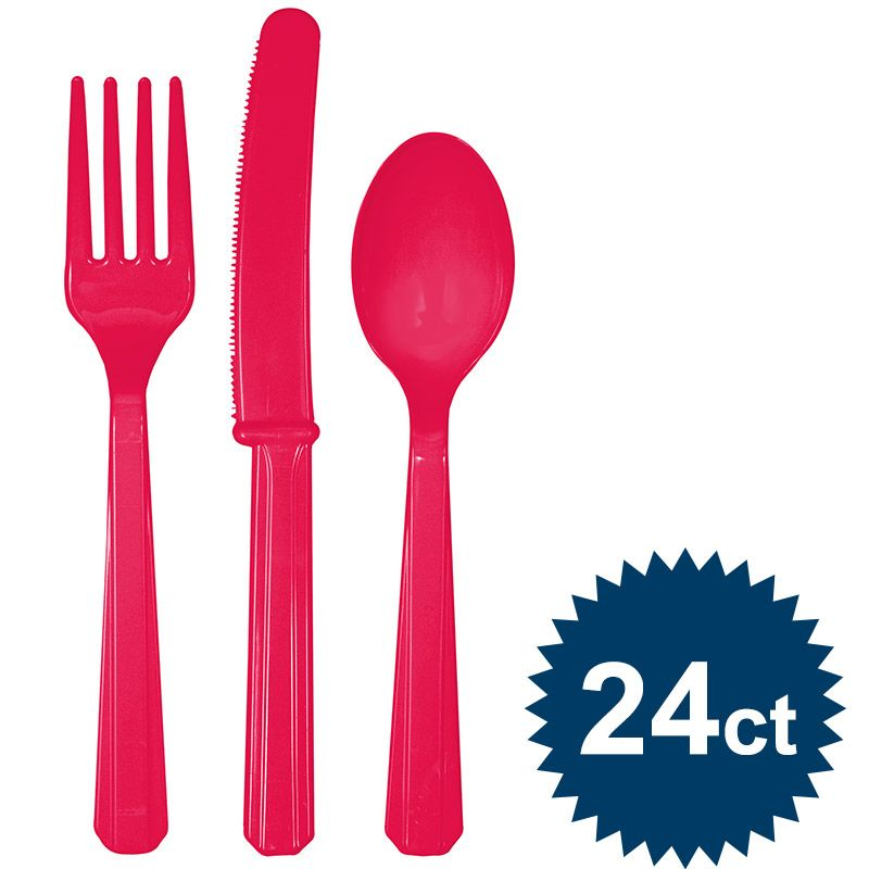 Hot Pink Cutlery Set - Party Supplies