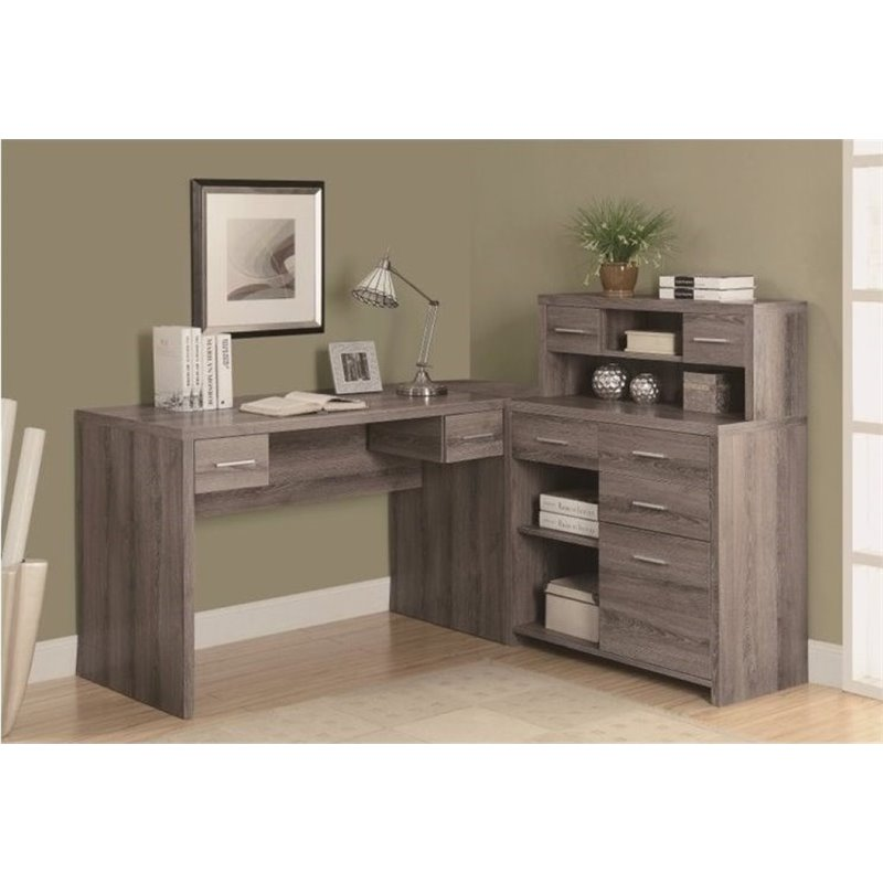 Bowery Hill L Shaped Computer Desk With Hutch In Dark Taupe