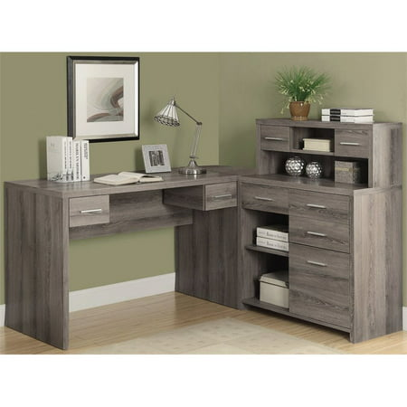 Hill Tribe Silver Shape (Bowery Hill L Shaped Computer Desk with Hutch in Dark)