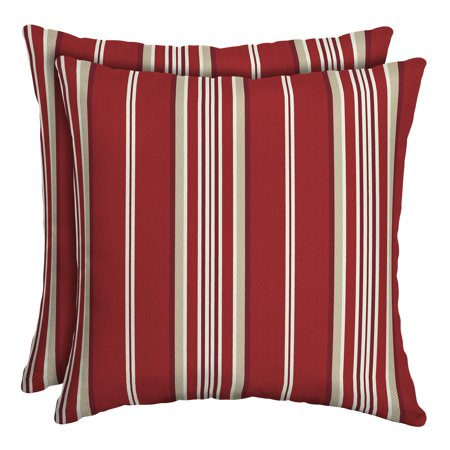 Better Homes & Gardens Red Stripe 16 x 16 in. Outdoor Toss Pillow w EnviroGuard, Set of 2 ()