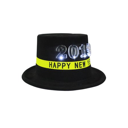 Black Plastic Light Up 2019 Top Hat New Years Eve Costume Accessory Party (Mickey's Halloween Party 2019 Tips)
