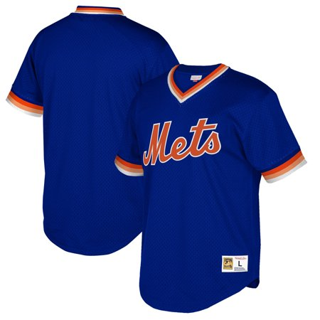 New York Mets Mitchell & Ness Cooperstown Collection Mesh Wordmark V-Neck Jersey - Royal