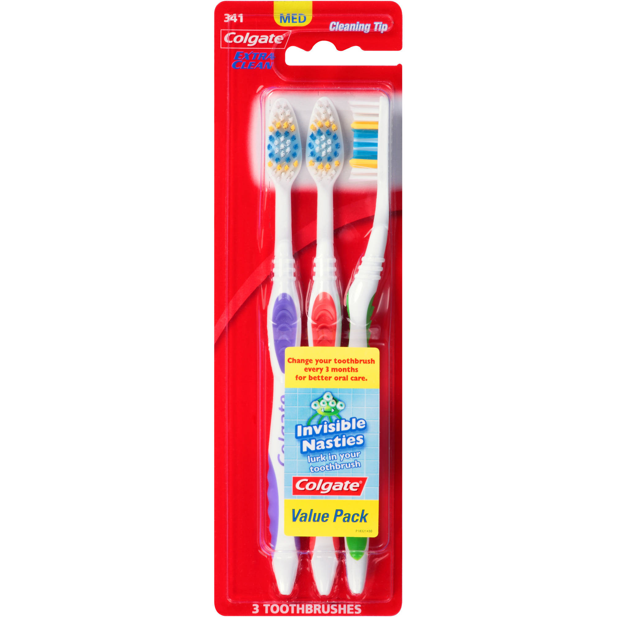 Colgate Extra Clean Medium Toothbrushes, 3 count