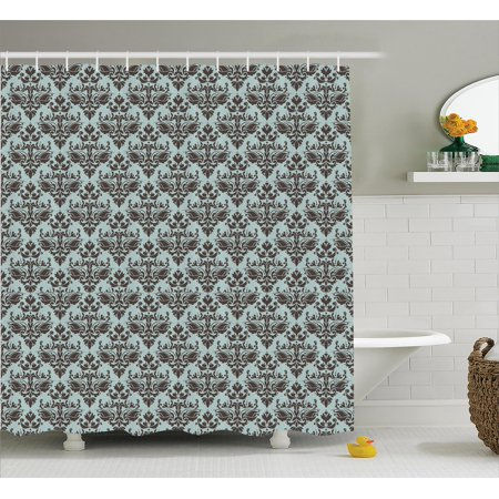 Modular Shower (Damask Shower Curtain, Damask Shapes Motif Western Modular Leaves and Rayon Curving Lines Creative Floral, Fabric Bathroom Set with Hooks, Teal Brown, by)