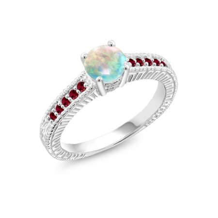 0.90 Ct Round Cabochon White Simulated Opal Red Created Ruby 925 Silver Ring