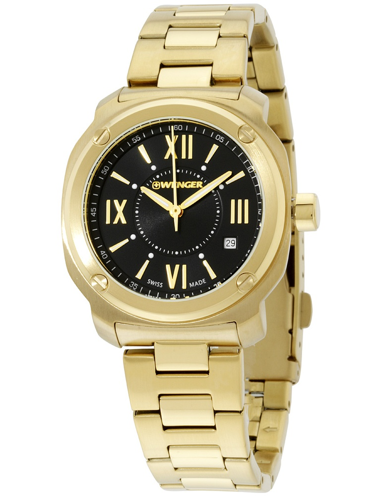 Black Dial Gold Tone Stainless Steel Ladies Watch 011121114