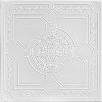 Kensington Gardens 1.6 ft. x 1.6 ft. Foam Glue-up Ceiling Tile in Plain White (21.6 sq. ft. / case)