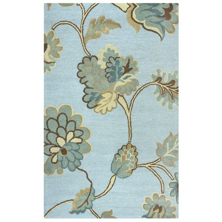 Gatney Rugs Lenox Area Rugs - DI1615 Contemporary Blue Floral Flowers Leaves Vines Rug