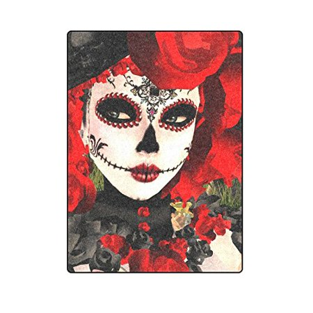 CADecor Sugar Skull Flower Day Of The Dead Blanket Throw Super Soft Warm Bed or Couch Blanket 58x80 inches](Day Of The Dead Flower)