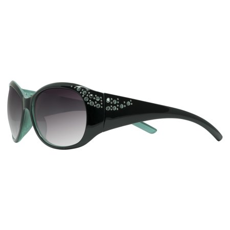 "Piranha ""Juicy"" Shiny Black And Green Frame Womens Sunglasses with Smoke Lens"