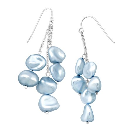 (Honora Sky Blue Keshi Cultured Pearl Cascade Drop Earrings in Sterling Silver)