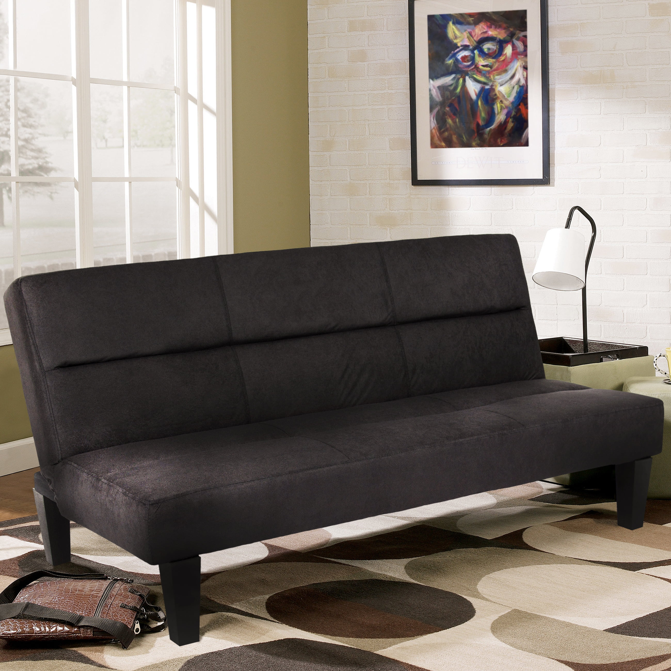 Best Choice Products Microfiber Futon Folding Couch Sofa Black