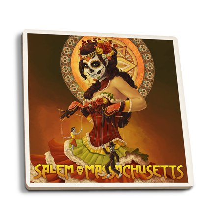 Salem, Massachusetts - Day of the Dead Marionettes - Lantern Press Poster (Set of 4 Ceramic Coasters - Cork-backed, Absorbent)