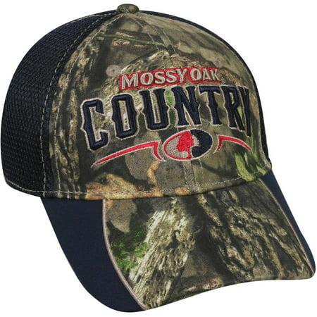 Mossy Oak Mesh Back Americana Camo Cap, Mossy Oak Break-Up Country Camo/Navy, Flexible Fitted - Mossy Oak Mesh Cap