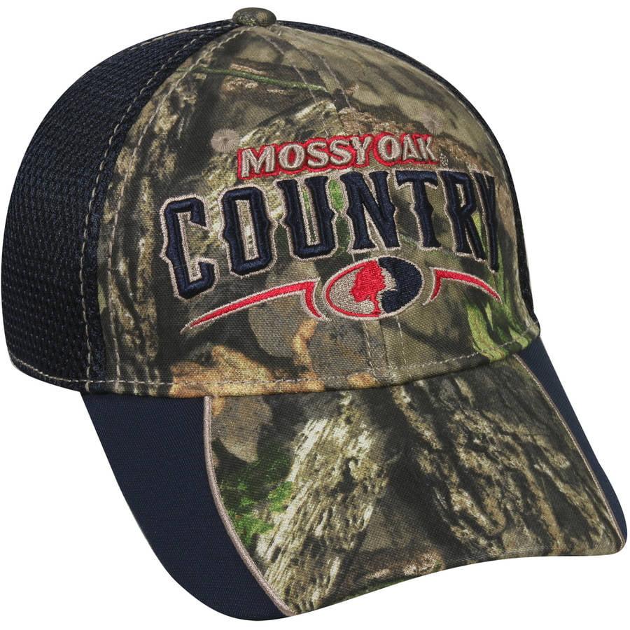 Mossy Oak Mesh Back Americana Camo Cap, Mossy Oak Break-Up Country Camo/Navy, Flexible Fitted