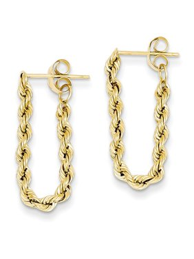 14k Yellow Gold Rope Post Stud Earrings Drop Dangle