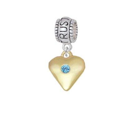 Large Hot Blue Birthday Crystal Gold Tone Heart - Trust In God Charm Bead