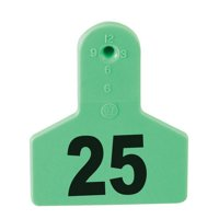 Z Tags Numbered Livestock Ear Tags (Small), 25 count - X4G2 - Color: Green, Number: 26-50