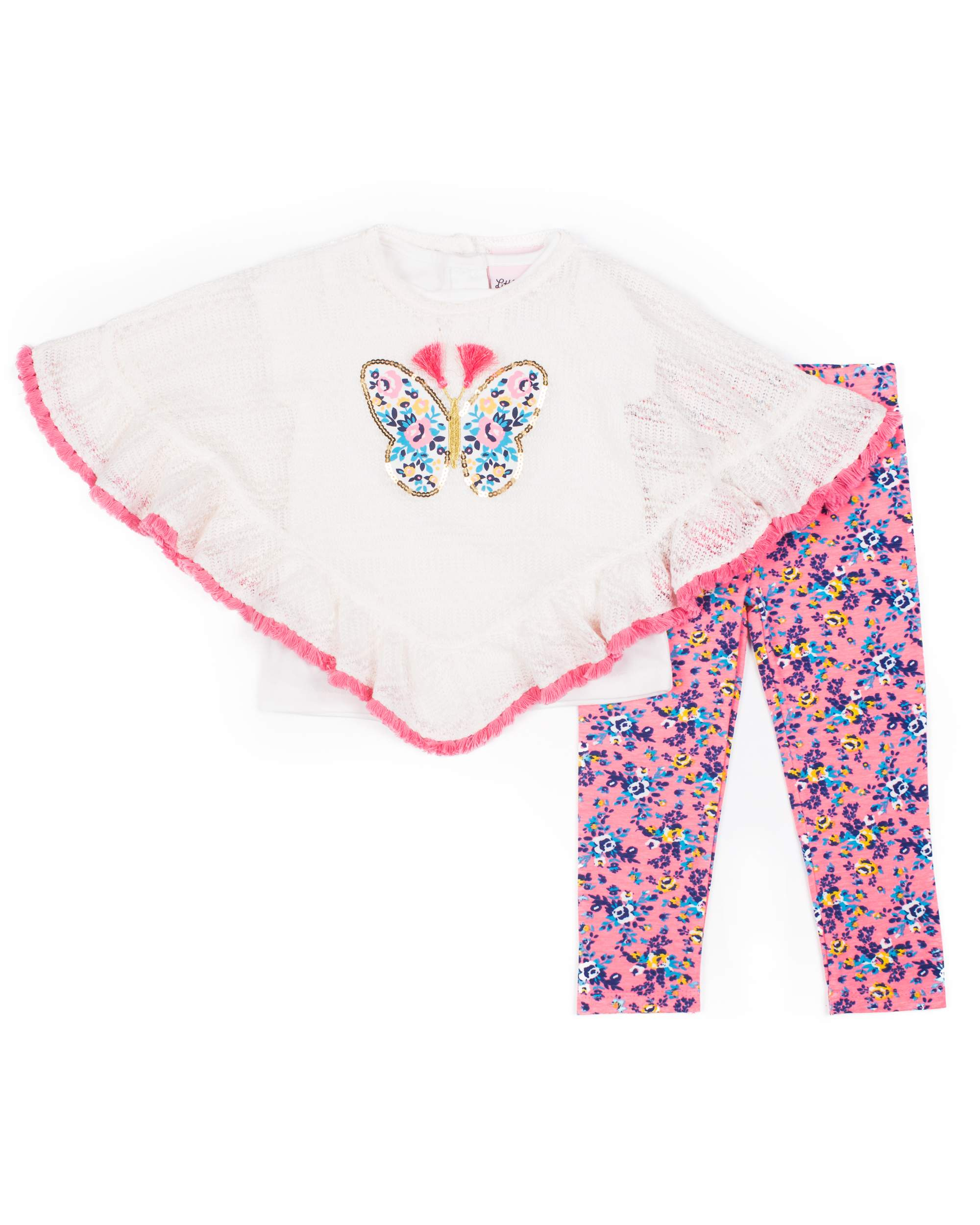Poncho, Short Sleeve T-shirt & Printed Leggings 3pc Outfit Set (Baby Girls & Toddler Girls)