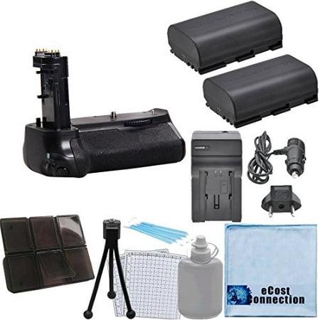 Battery Grip for Canon EOS EOS 7D Mark II DSLR Camera + (2) LP-E6 Long-Life Batteries + eCostConnection Starter - 2 Battery Grip