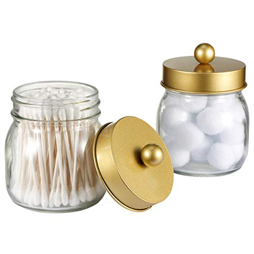 SheeChung 4 Pack Plastic Acrylic Bathroom Vanity Countertop Canister Jars with Storage Lid Clear, 15 Oz Apothecary Jars Qtip Holder Makeup Organizer for Cotton Balls,Swabs,Pads,Bath Salts