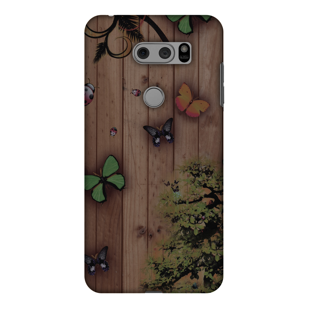 LG V30 Plus Case, LG V30 Case - Bonsai Butterfly, Hard Plastic Back Cover. Slim Profile Cute Printed Designer Snap on Case with Screen Cleaning Kit