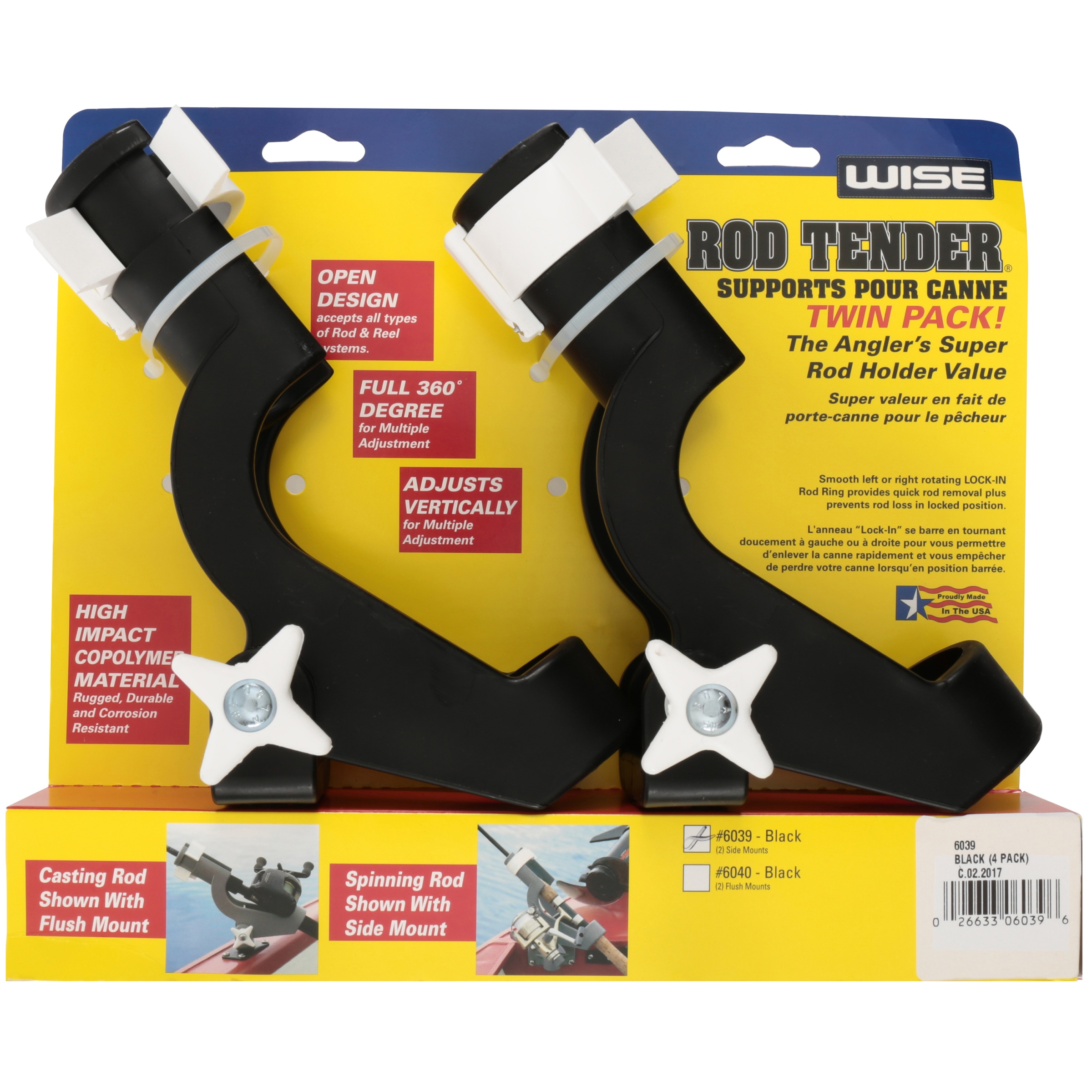 Fishing Twin Pack Rod Pole Reel Holder with 2 Side Mounts Black FREE SHIPPING