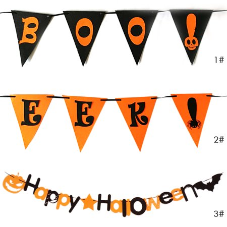 Happy Party Hanging Banner Wall Decor for Home School Office Party Decorations Bat and Pumpkin Garland - image 5 de 7