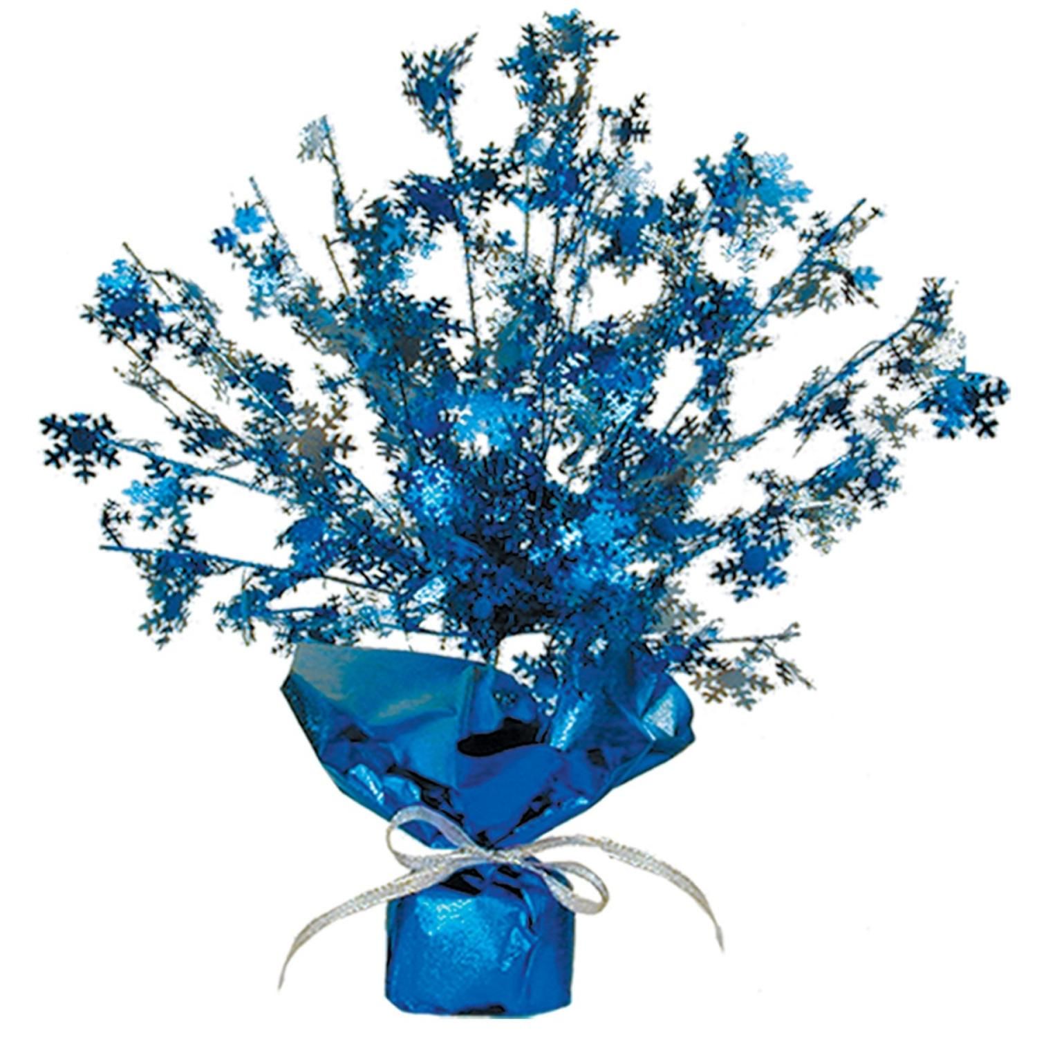 Club Pack of 12 Blue and Silver Metallic Gleam 'N Burst Snowflake Centerpiece Christmas Decorations 15""