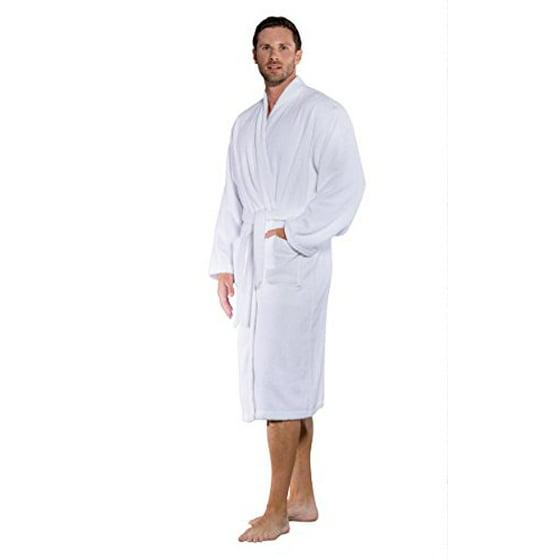 Turquaz Linen - 100% Turkish Cotton Men and Women Terry Kimono Bathrobe Made  in Turkey (White ba49dcba1