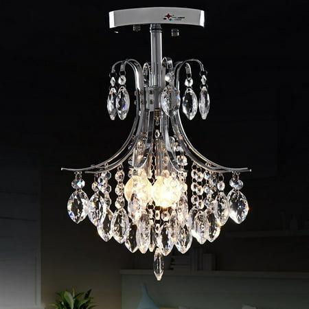 2 -Head Modern Crystal Chandelier Light for Living Room - 2 Crystal Chandelier
