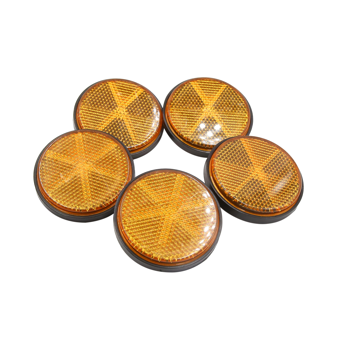 5pcs 59mm Orange Plastic Screw Mount Reflective Warning Reflector for Motorcycle