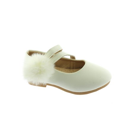 Kate Little Girls White Double Strap Pom-Pom Mary Jane - Double Strap Mary Jane
