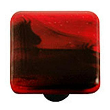 Painted Swirl Cabinet (Hot Knobs HK2053-KA Black Swirl Brick Red Square Glass Cabinet Knob - Aluminum Post )