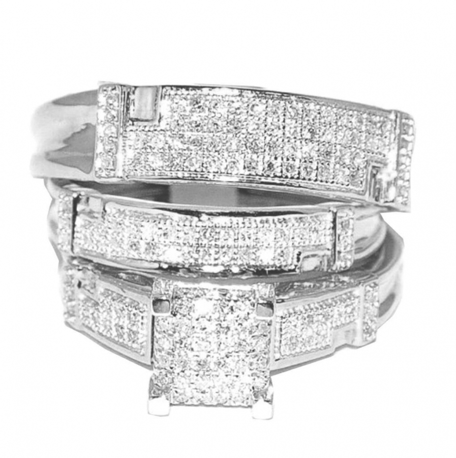 White Gold Trio Wedding Set Mens Women Rings Real 1 2cttw Diamonds Pave(I j Color 0.5cttw) by MidwestJewellery