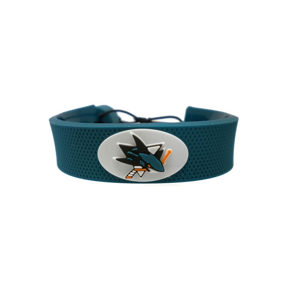 NHL SAN Jose Sharks Team Color Gamewear Leather Hockey Bracelet - image 2 de 2