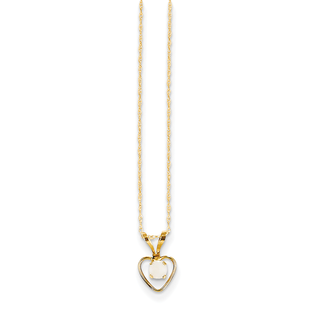 14k Yellow Gold Madi K 3mm Opal Heart Necklace GK412-15 by