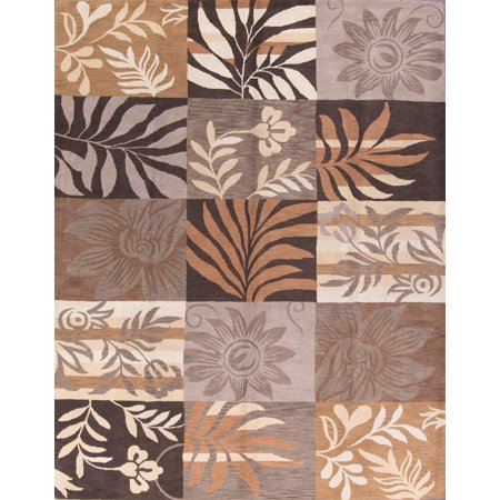 Nature Print Floral Oriental Hand-Tufted 10x13 Wool Large Area Rug ()