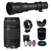 Canon EF 75-300mm III and Commander 420-800mm Zoom Lens Bundle with EF-EOS M Adapter, for Canon EOS M, M50, M6, M5, M100, M10 Cameras